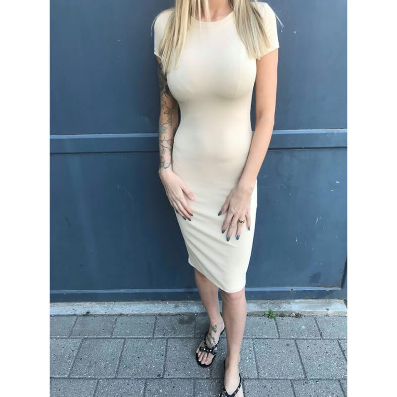 Sava nude dress - Deluxe Clothing