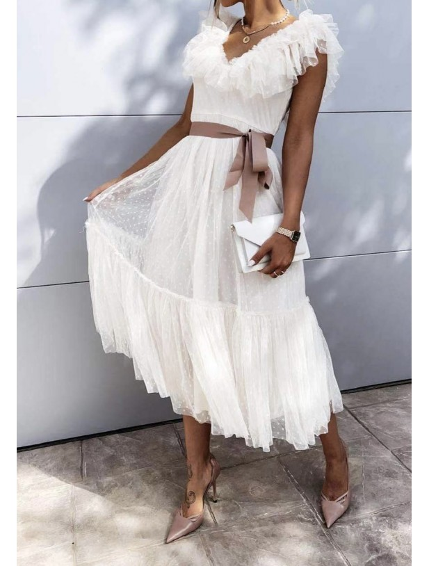 Filone dress White/nude - Deluxe Clothing
