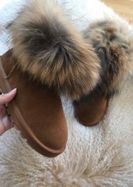 fur boots brun