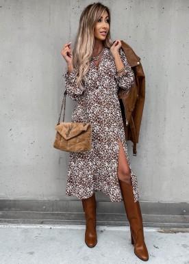 Cara flower dress Brown