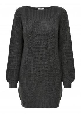 JDYWHITNEY MEGAN L/S BOAT DRESS KNT NOOS  dark grey melange