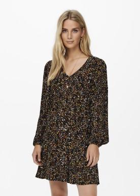 JDYCLAUDIA L/S SHORT DRESS WVN black confetti