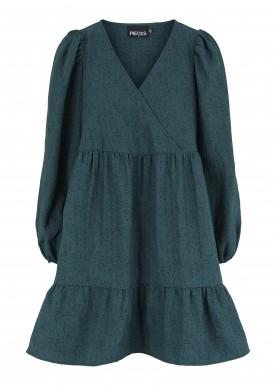 PCTYLLE LS V-NECK DRESS D2D DE ponderosa pine
