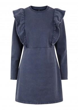 PCGAHOA LS SWEAT RUFFLE DRESS  blue denim