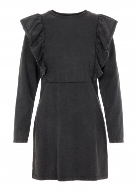 PCGAHOA LS SWEAT RUFFLE DRESS black denim