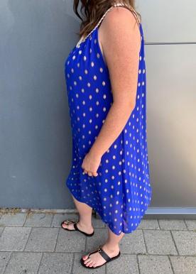 jasmina dot dress royal blue