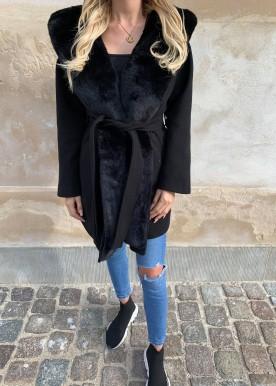 copperose fur coat black