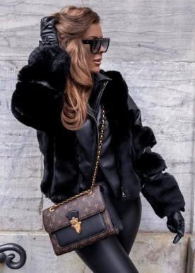copperose new fur jacket black