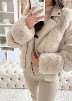 copperose new fur jacket beige