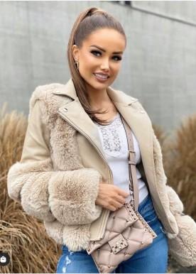 copperose new fur jacket beige