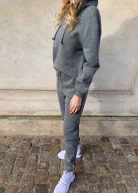 pcchilli ls hoodie dark grey melange